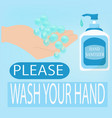 wash your hand or a notice banner for washing vector image vector image