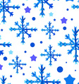 Watercolor beautiful blue snowflakes vector image