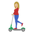 young woman riding her electric scooter vector image vector image