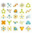 molecule icon set flat style vector image