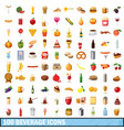 100 beverage icons set cartoon style vector image vector image