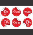 45 percent off red paper sale stickers vector image vector image