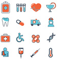 Abstract collection of flat line healthcare and vector image vector image