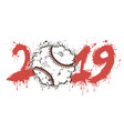 abstract number 2019 and baseball ball from blots vector image