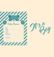 baby boy shower invite greeting card vector image vector image