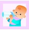 Baby eats food milk bottle vector image