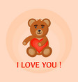 bear toy hold heart in hands vector image vector image