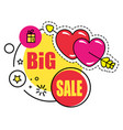 big sale present and heart with arrow sticker vector image vector image