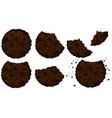 bitten double choicolate cookies vector image