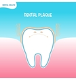 Cartoon bad tooth icon with dental plaque vector image
