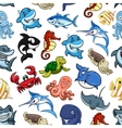Cartoon sea animals ocean fish seamless pattern vector image