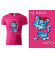 child t-shirt design with blue cartoon cat vector image