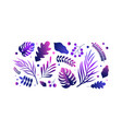 collection various tropical leaves isolated on vector image
