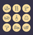construction line icons set equipment and tools vector image