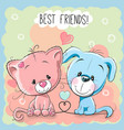 cute cat and dog vector image vector image