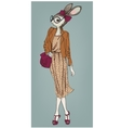 cute fashion hipster hare girl vector image
