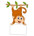 Cute monkey cartoon with blank sign vector image vector image
