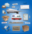 delivery elements posts and transport vector image vector image
