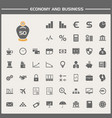 economy and business icons set vector image vector image