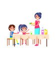 family picnic mother and kids vector image vector image
