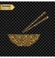 Gold glitter icon of chinese noodles vector image