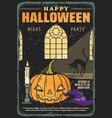 halloween horror pumpkin witch black cat and hat vector image vector image