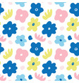 hand drawn colorful floral seamless repeat pattern vector image vector image