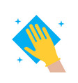 hand in glove wipes dust with a napkin icon vector image vector image