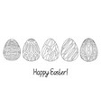 happy easter egg sketch collection black on white vector image