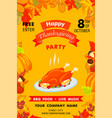 happy thanksgiving party vertical banner cartoon vector image vector image