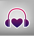 headphones with heart purple gradient vector image vector image
