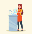 housewife woman wearing in an apron is vector image