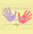 imprint of palms of friendship of purple and pink vector image