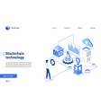isometric blockchain crypto technology vector image vector image