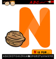 letter n with nut cartoon vector image