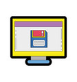 line color computer technology with screen and vector image vector image