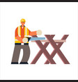 male builder using handsaw sawing log on sawbuck vector image