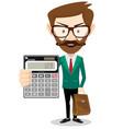 man holding a calculator vector image vector image