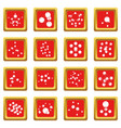molecule icons set red square vector image vector image