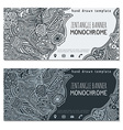 monochrome hand drawn zentangle banner icons vector image vector image