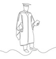 one continuous line graduation student concept vector image
