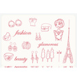 Paris fashion doodles set vector image