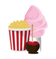 pop corn sugar cotton and caramelized apple vector image vector image