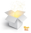 Realistic Magic Open Box Magic Box with Confetti vector image vector image