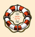 sea lifebuoy nautical or marine ring buoy ocean vector image