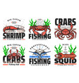 seafood and marlin fishing fisher club tournament vector image vector image