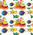 Seamless background with fish swimming underwater vector image vector image