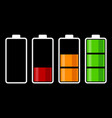 set of battery charge level indicator vector image vector image