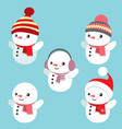 Set of five cute snowmen vector image