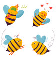 set of four bright joyful bee characters vector image vector image
